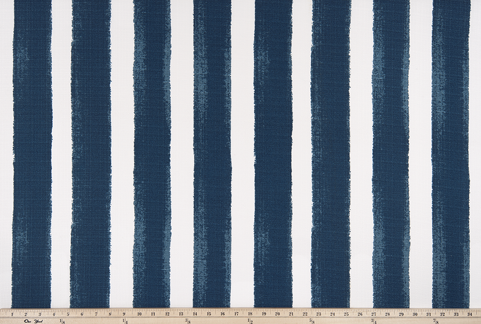 picture of a blue or navy striped outdoor fabric swatch
