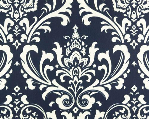 Photo of repeating white Damask pattern printed on navy blue fabric