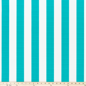 picture of teal turquoise stripes on white outdoor fabric
