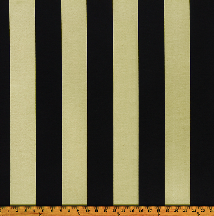Photo of large black repeating classic stripe pattern printed on beige fabric
