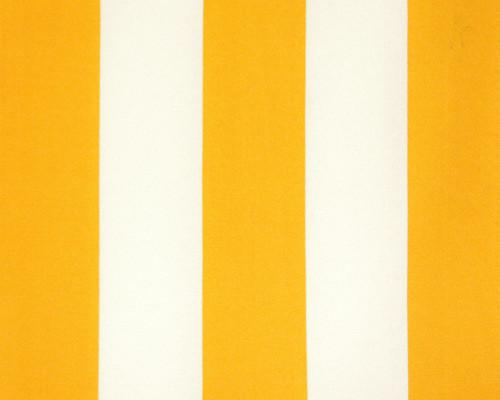 Photo of large yellow repeating classic stripe pattern printed on white fabric