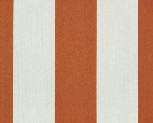 Photo of large orange repeating classic stripe pattern printed on white fabric
