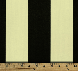 Photo of large black repeating classic stripe pattern printed on white fabric