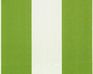 Photo of large green repeating classic stripe pattern printed on white fabric