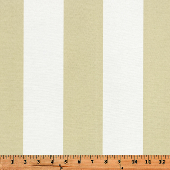 Photo of large beige repeating classic stripe pattern printed on white fabric