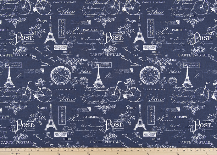 Paris Vintage Indigo Fabric By Premier Prints