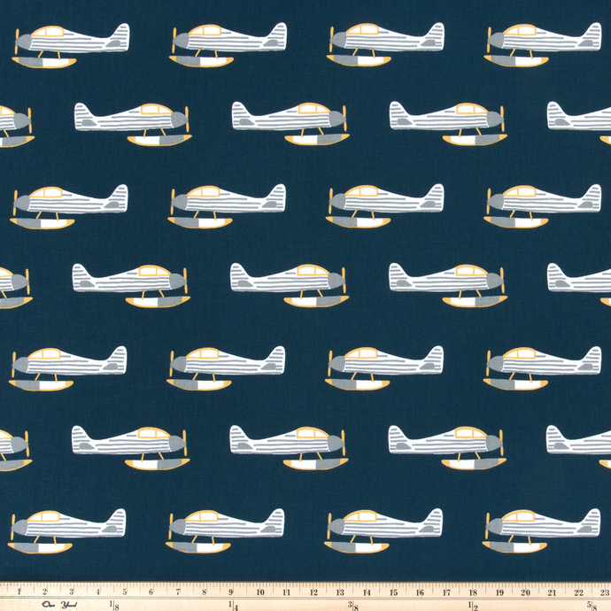 blue airplane fabric by premier prints