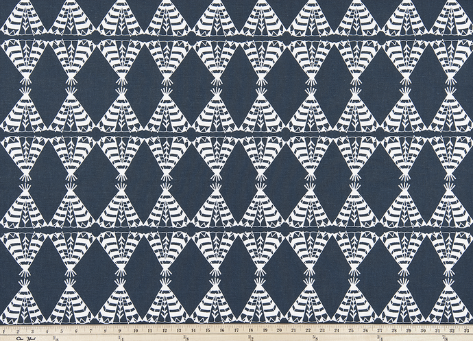 Pow Wow Spruce Blue Fabric By Premier Prints