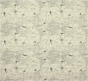 A picture of a printed fabric with airplanes and traveler's map
