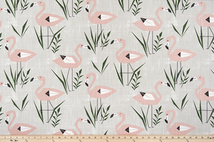 cotton fabric with pink flamingos and green grass