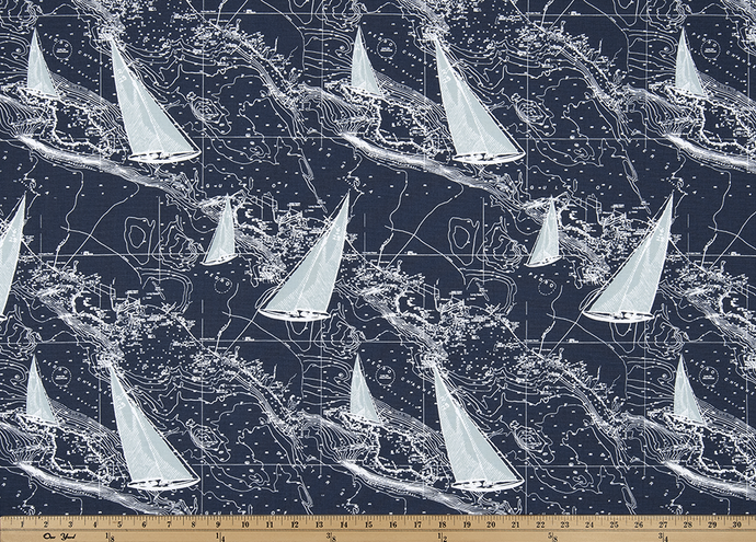 Sail Away Vintage Indigo Fabric By Premier Prints