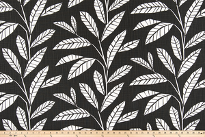 picture of black cotton fabric with leaves and foliage