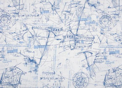 Picture of Navy Blue Nautical Boat Ocean Sean Map Printed Fabric