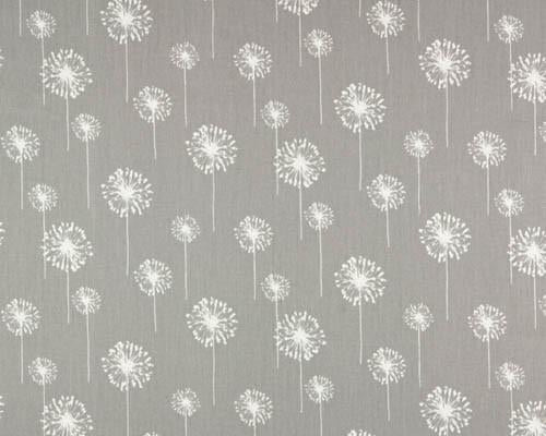 white dandelion flower printed on grey fabric