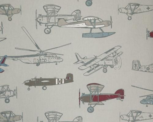 A picture of Vintage Airplane Helicopter Flying on a Printed Fabric
