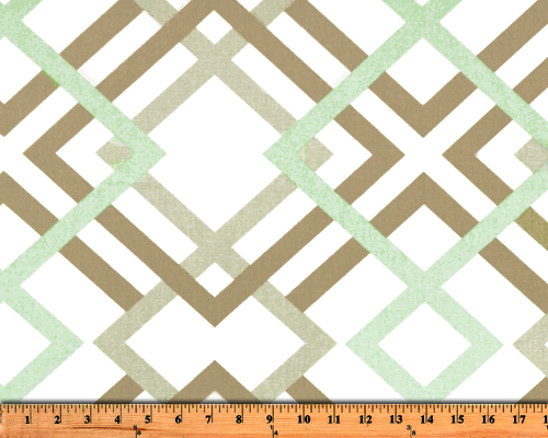 Green & Brown Diamond on Diamond Pattern Printed Fabric