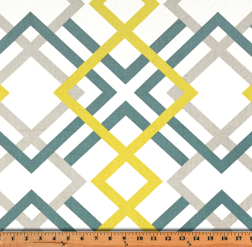 Green, Yellow, and Grey Diamond on Diamond Pattern Printed Fabric