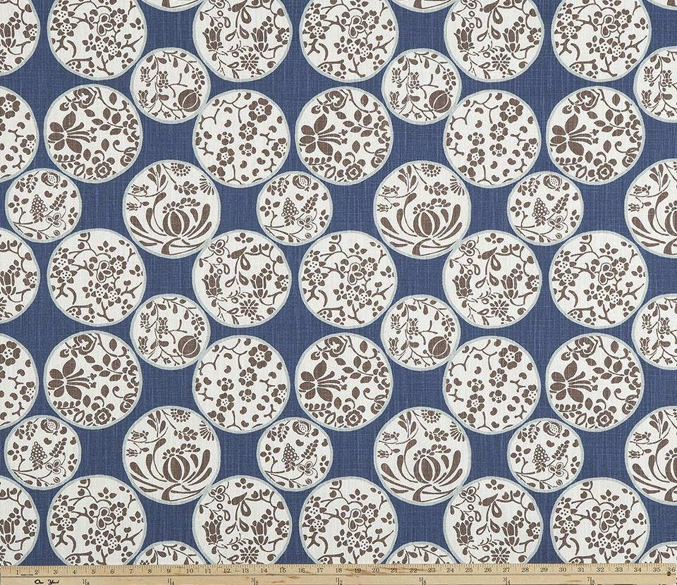 Blue White Brown Chinese Inspired Floral Printed Fabric