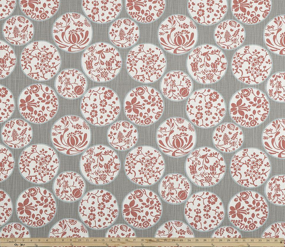 Grey White Red Chinese Inspired Floral Printed Fabric