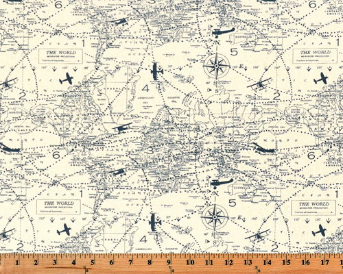 A photo of a swatch of fabric with printed vintage airplanes and maps