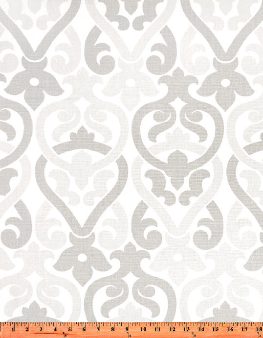 Grey and Light Grey Damask Elegant Printed Fabric