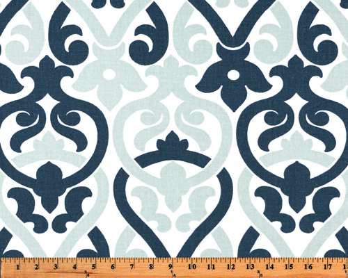 Light Sky and Navy Blue Damask Elegant Printed Fabric