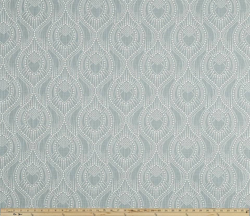 Ogee Pattern Design on Bluish Green Printed Fabric