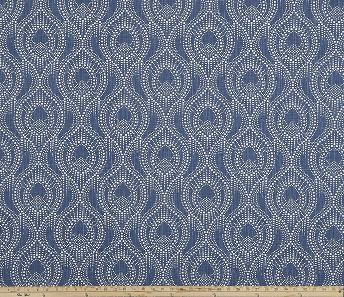 Picture of Ogee Pattern Design on Navy Blue Printed Fabric