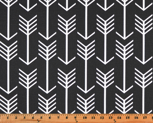 Black Printed Fabric with Repeating Arrow Native Indian Pattern