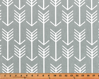 Grey Printed Fabric with Repeating Arrow Native Indian Pattern