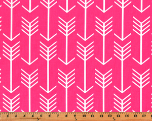 Bright Hot Pink Fabric with Repeating Arrow Native Indian Pattern