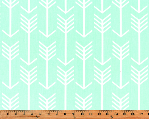 Light Mint Green Printed Fabric with Repeating Arrow Native Indian Pattern