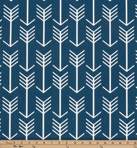Navy Blue Printed Fabric with Repeating Arrow Native Indian Pattern