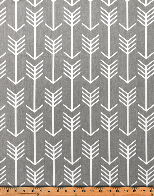 Picture of Medium Grey Printed Fabric with Repeating Arrow Native Indian Pattern
