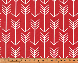 Red Printed Fabric with Repeating Arrow Native Indian Pattern