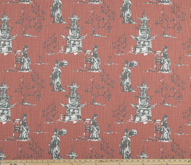 Asian Toile Scarlet Slub Canvas Fabric By Premier Prints