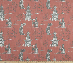 Asian Toile Scarlet Slub Canvas