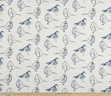Bird Toile Regal Blue Slub Canvas
