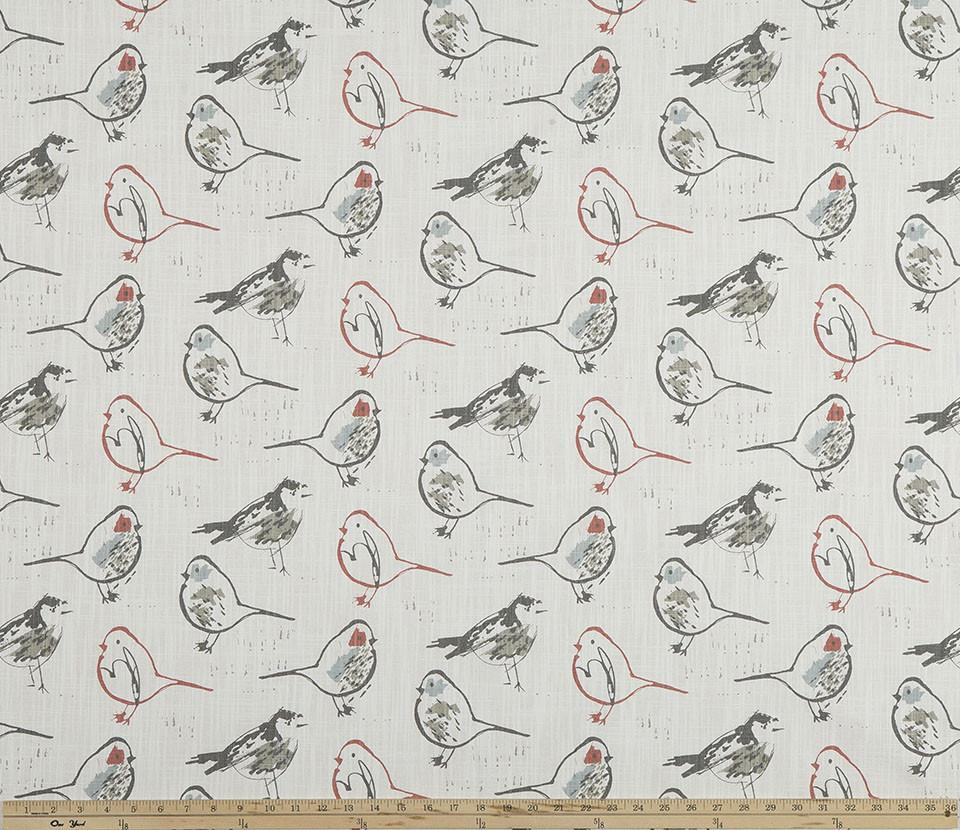 Bird Toile Scarlet Slub Canvas