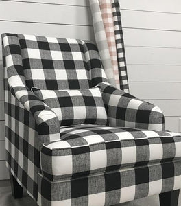 a chair made out of anderson black buffalo plaid check fabric by premier prints