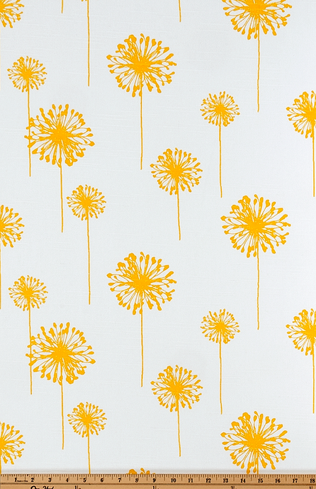 yellow dandelion flower printed on white fabric