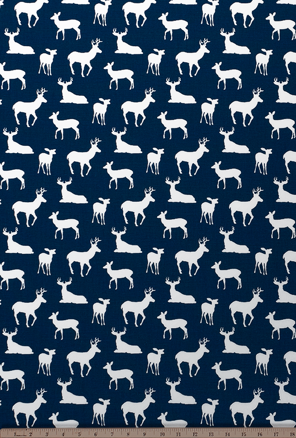 Deer Silhouette Premier Navy White Fabric By Premier Prints