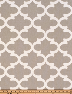 Photo of grey Quatrefoil trellis pattern printed on white fabric