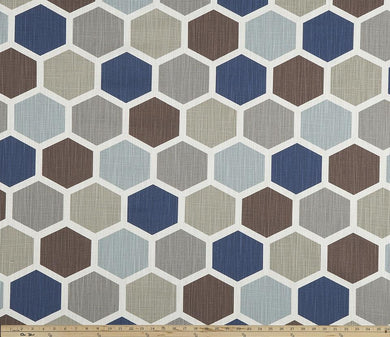 Hexagon Regal Blue Slub Canvas Fabric By Premier Prints