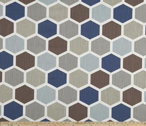 Hexagon Regal Blue Slub Canvas