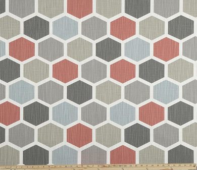 Hexagon Scarlet Slub Canvas Fabric By Premier Prints