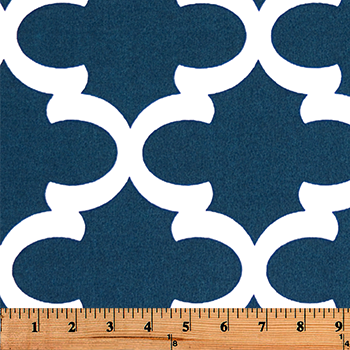 Photo of blue Quatrefoil trellis pattern printed on white fabric