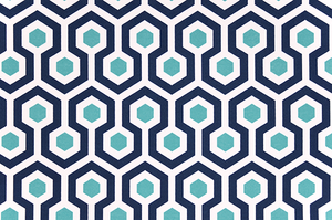 photo of blue honeycomb pattern printed on white fabric