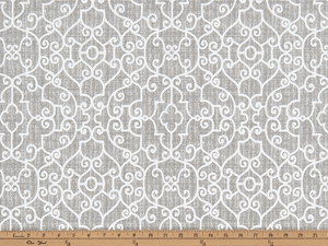 Photo of grey elegant geometric scroll design pattern printed on white fabric