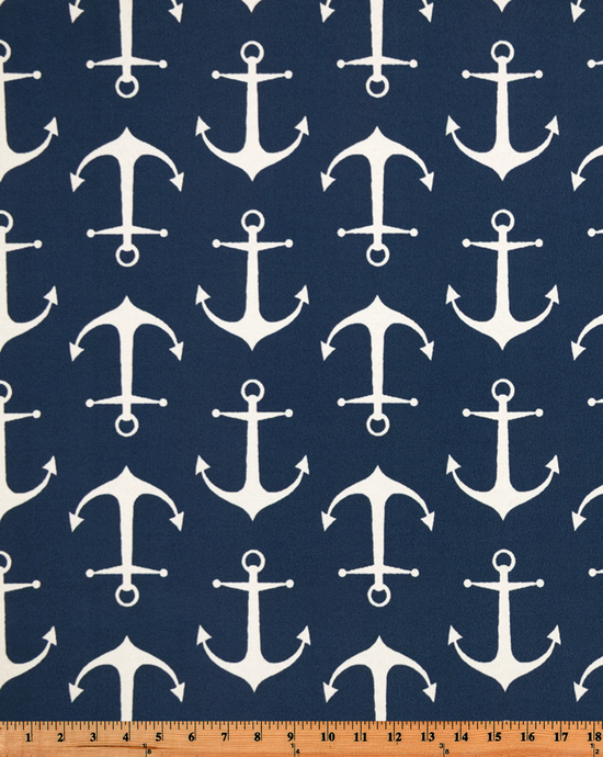 Photo of repeating ship anchor pattern on blue fabric